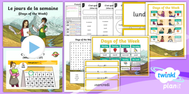 French: Time: Days of the Week Year 3 Lesson Pack 2