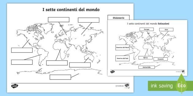 I sette continenti del mondo attivit geografia mappa - Mappa del mondo contorno ks2 ...