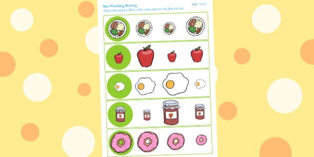 Food Themed Size Matching Worksheet - food, ordering, matching