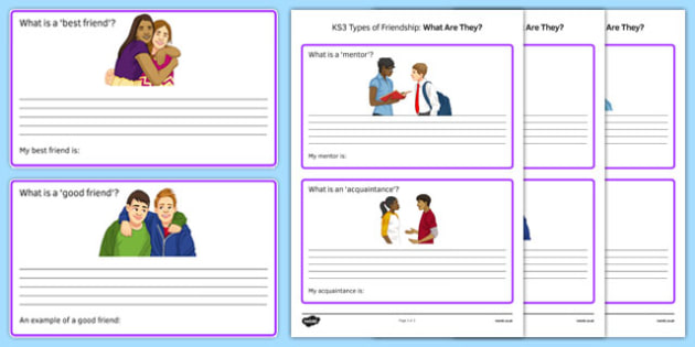 KS3 Types of Friendship What Are They Cards - ks3, types, friendship, what, cards