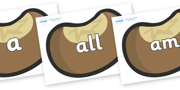 Foundation Stage 2 Keywords on Conkers - FS2, CLL, keywords, Communication language and literacy,  Display, Key words, high frequency words, foundation stage literacy, DfES Letters and Sounds, Letters and Sounds, spelling