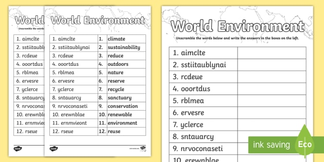 World Environment Word Unscramble - Topic words, vocabulary, keywords