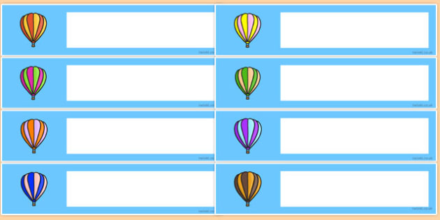 Hot Air Balloon Themed Editable Gratnells Tray Labels - labels