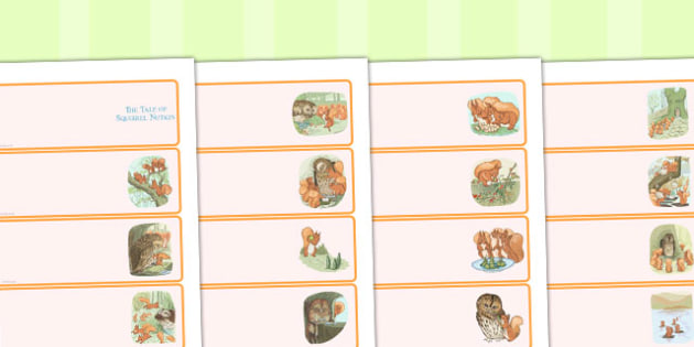 The Tale of Squirrel Nutkin Editable Drawer Peg Name Labels