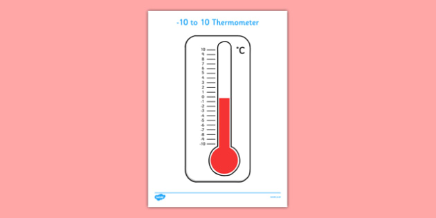 Minus 10 to 10 Thermometer - minus 10, 10, thermometer, number line, temperature, measure