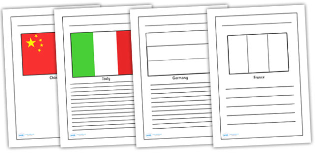 Flags of the World Writing Frames - flags of the world, flags, geogrphy, writing frames, writing templates, writing guide, line guide, writing aid, writing