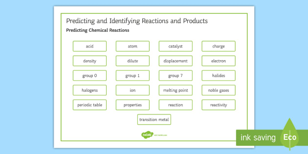 OCR Gateway Combined Science Predicting and Identifying Reactions and Products Word Mat - Word Mat, keyword, gcse, chemical reactions, predicting chemical reactions