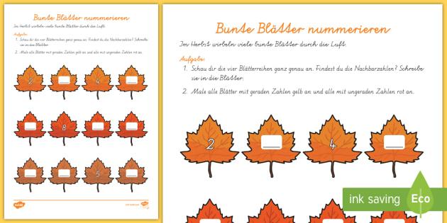 bunte bl tter nummerieren arbeitsblatt erstes z hlen de herbst autumn. Black Bedroom Furniture Sets. Home Design Ideas