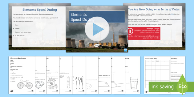 Elements Speed Dating - Speed Dating, elements, carbon, hydrogen, mercury, oxygen, aluminium, starter activity