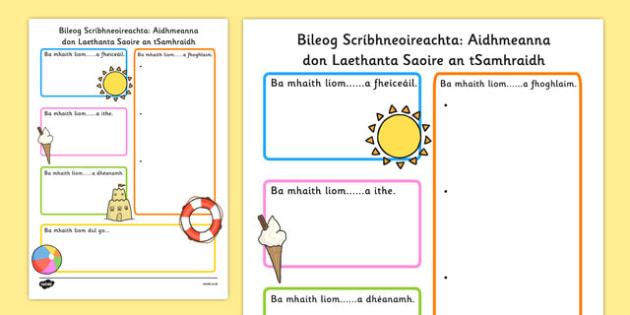 summer holiday hopes write up worksheet gaeilge seasons writing sheet. Black Bedroom Furniture Sets. Home Design Ideas