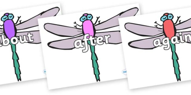 KS1 Keywords on Dragonflies - KS1, CLL, Communication language and literacy, Display, Key words, high frequency words, foundation stage literacy, DfES Letters and Sounds, Letters and Sounds, spelling