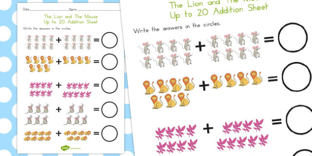 The Lion and the Mouse Up to 20 Addition Sheet - australia, add