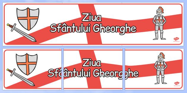 Ziua Sf. Gheorghe - Banner - Sfântul, Sf. Gheorghe, banner, decor, balaur, religie, materiale didactice, română, romana, material, material