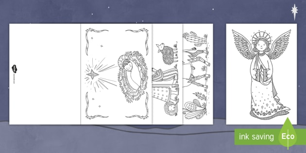 Mindfulness Colouring Nativity Christmas Cards - mindfulness, colouring, colour, nativity, christmas cards, christmas, cards
