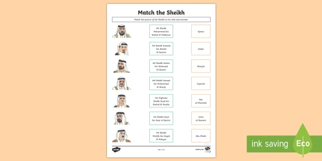 Match the Sheikhs & Emirates Activity Sheet