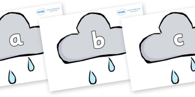 Phase 2 Phonemes on Weather Symbols (Rain) - Phonemes, phoneme, Phase 2, Phase two, Foundation, Literacy, Letters and Sounds, DfES, display