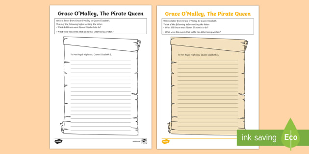 Grace O'Malley, Letter to Queen Elizabeth I Worksheet / Activity Sheet-Irish