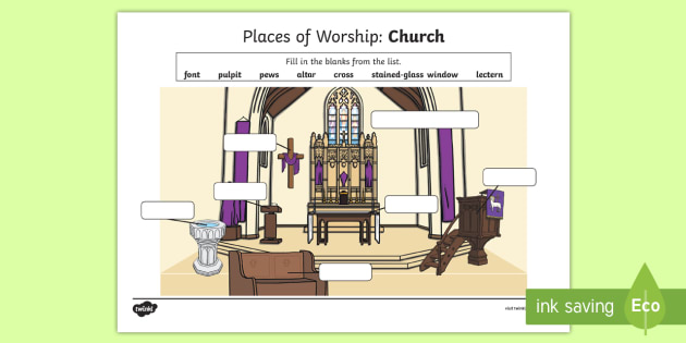 places of worship church worksheet worksheet cfe religious education. Black Bedroom Furniture Sets. Home Design Ideas