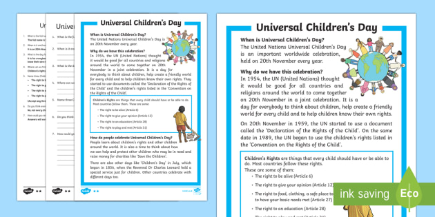 Ks1 Universal Children S Day Differentiated Reading Comprehension