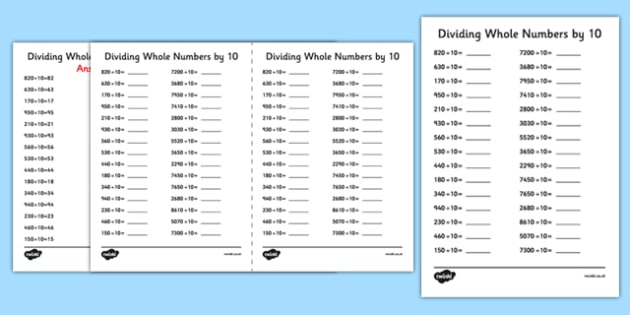 Dividing Whole Numbers by 10 A5 Activity Sheet - dividing, whole numbers, by 10, activity, sheet, worksheet