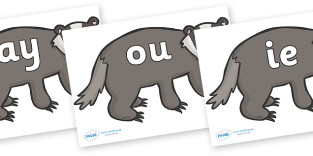 Phase 5 Phonemes on Badgers - Phonemes, phoneme, Phase 5, Phase five, Foundation, Literacy, Letters and Sounds, DfES, display