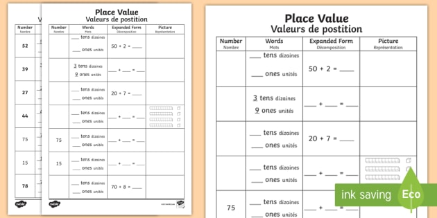 place value worksheet activity sheet english french place. Black Bedroom Furniture Sets. Home Design Ideas