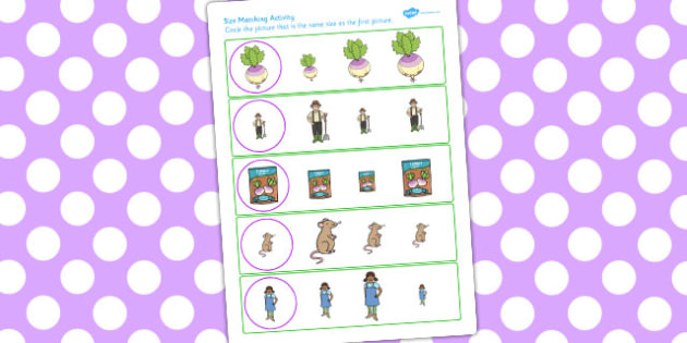 The Enormous Turnip Size Matching Worksheets - matching, sheet