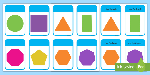 2D Shape Cards German - german, 2d shape, cards, 2d, shape, maths, numeracy, 2d formen