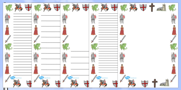 St George's Day Page Borders (A4) - St George's Day, page border, border, writing template, writing aid, maiden, St George, patron saint, dragon, sword, England, fought, horse, English