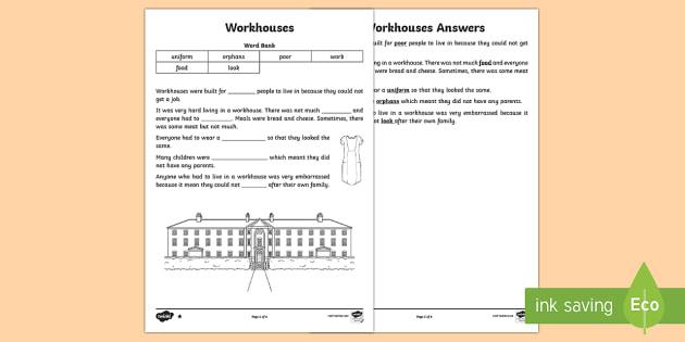 KS1 Workhouses Cloze Procedure Differentiated Worksheet / Activity ...