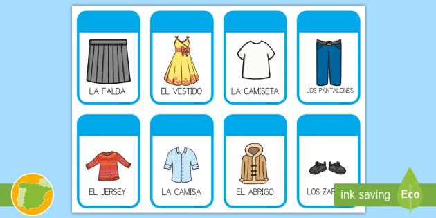Tarjetas Educativas Las Prendas De Vestir