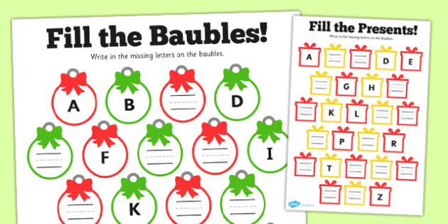Christmas Complete The Alphabet Worksheet Activity