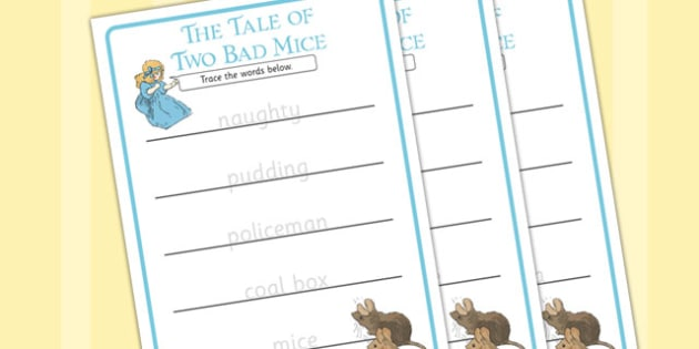 The Tale of Two Bad Mice Trace the Words Writing Frame - two bad mice, trace