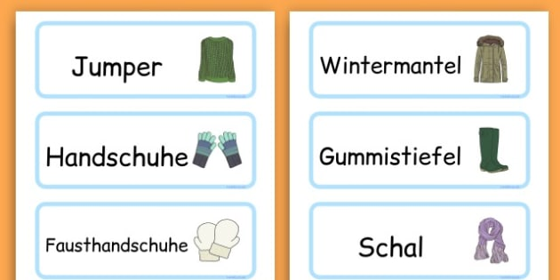Winter Clothes Word Cards - winter clothes, word cards, winter, clothes - German