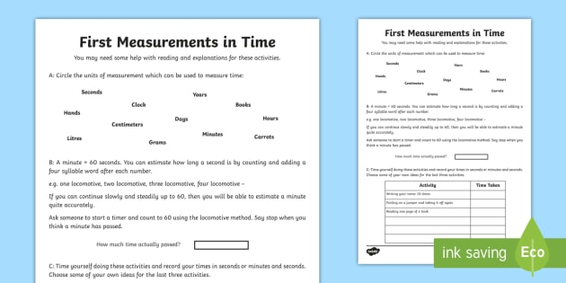 First Measurements in Time Activity Sheet - Learning from Home Maths Workbooks, estimate, minute, units, time, measure, record, worksheet