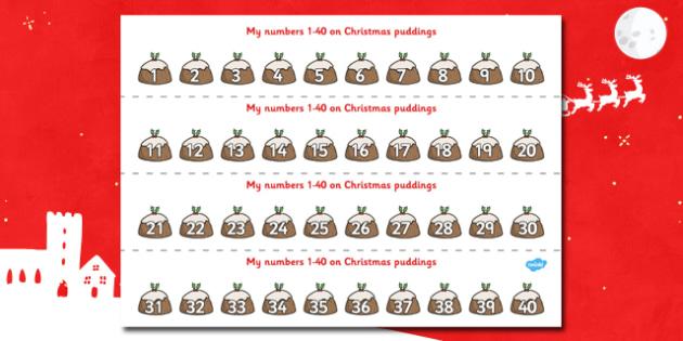 1-40 on Christmas Puddings Number Strips - xmas, Christmas,  Maths, Math, number track,  Numberline, Number line, Counting on, Counting back, counting, space
