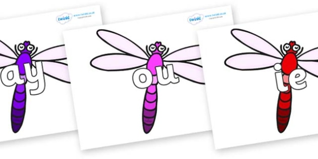 Phase 5 Phonemes on Dragonflies - Phonemes, phoneme, Phase 5, Phase five, Foundation, Literacy, Letters and Sounds, DfES, display