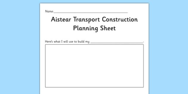 Aistear Transport Construction Planning Sheet - roi, republic of ireland, gaeilge, aistear, transport, construction, irish, eire, early years