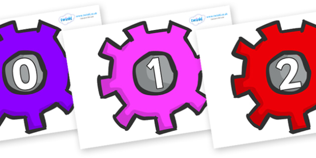 Numbers 0-31 on Cogs - 0-31, foundation stage numeracy, Number recognition, Number flashcards, counting, number frieze, Display numbers, number posters