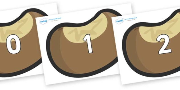Numbers 0-50 on Conkers - 0-50, foundation stage numeracy, Number recognition, Number flashcards, counting, number frieze, Display numbers, number posters