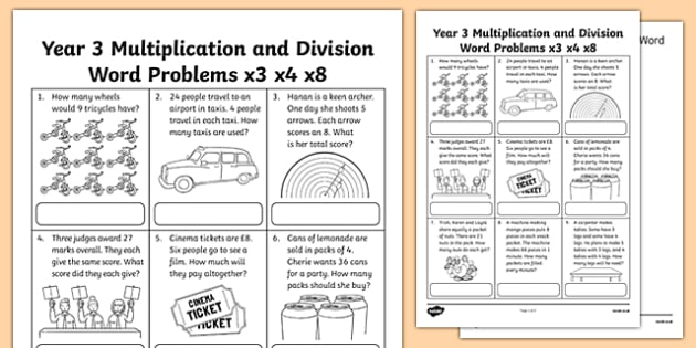 Year 3 Multiplication and Division Word Problems x3 x4 x8 Activity Sheet, worksheet