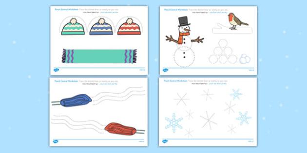 Winter Pencil Control Worksheets Arabic Translation - arabic, winter, pencil control, worksheets