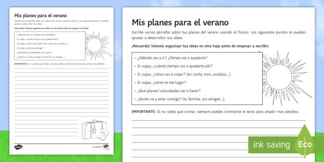 my summer holiday structured writing worksheet worksheet spanish summer. Black Bedroom Furniture Sets. Home Design Ideas