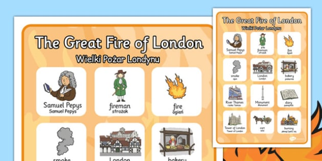 The Great Fire of London Vocabulary Poster Polish Translation - polish