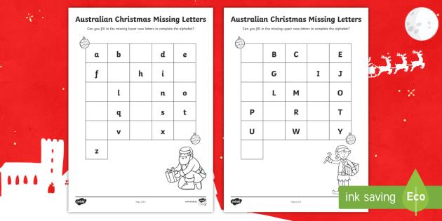 Christmas Missing Letters Alphabet Worksheet / Worksheets