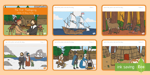 The First Thanksgiving Write It Story Cards - Thanksgiving, Pilgrims, Native Americans, First Thanksgiving