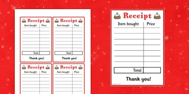 Christmas Cafe Role Play Receipt - christmas caf