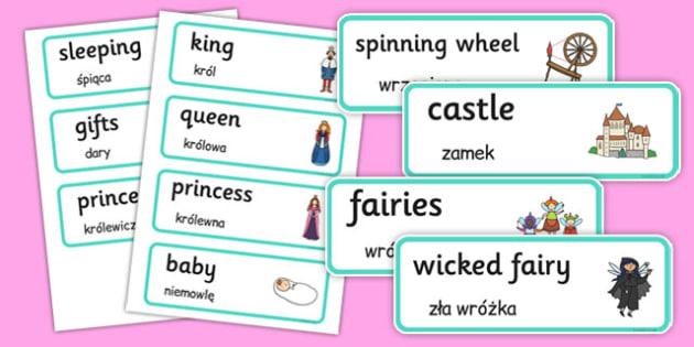 Sleeping Beauty Word Cards Polish Translation - polish, sleeping beauty, word cards, word, cards