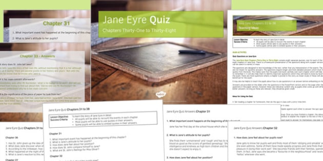Jane Eyre Quiz Chapters 31 to 38 - jane eyre, chapters, 31, 30, keystage 3