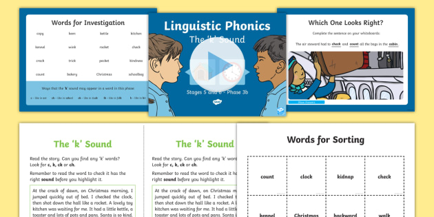 Northern Ireland Linguistic Phonics Stage 5 and 6 Phase 3b, 'k' Sound PowerPoint  - NI, sound search, word sort, investigation